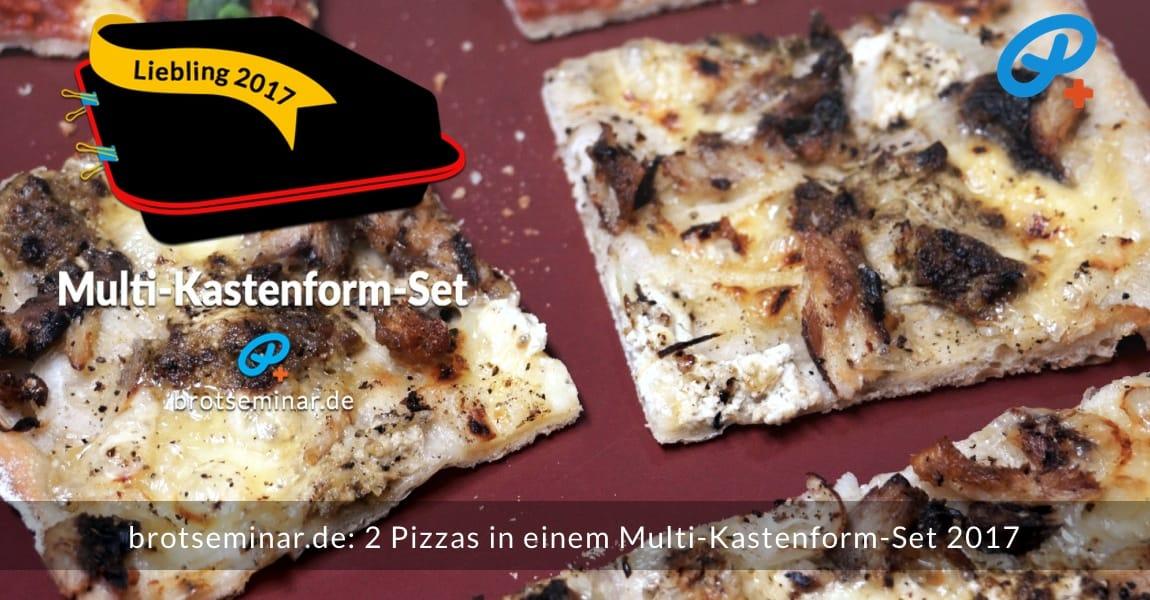 brotseminar.de: 2 (zwei) Pizzas wurden gleichzeitig im Multi-Kastenform-Set 2017 pizzaoptimal gebacken. Der Pizza-Teig von der Ostermühle Langenau wurde mit unserer Ohne-Kneten-Methode hergestellt. Das geht sehr einfach + schmeckt dann auch noch besser + bekömmlicher ist das Ergebnis sowieso. Weiße Pizza mit: Emmentaler Käse, Sardien aus der Dose, Zwiebel, Schmand mit grünem Pesto gemischt.