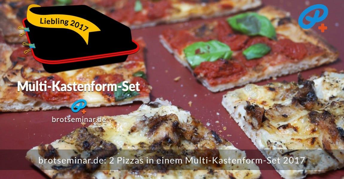 brotseminar.de: 2 (zwei) Pizzas wurden gleichzeitig im Multi-Kastenform-Set 2017 pizzaoptimal gebacken. Der Pizza-Teig von der Ostermühle Langenau wurde mit unserer Ohne-Kneten-Methode hergestellt. Das geht sehr einfach + schmeckt dann auch noch besser + bekömmlicher ist das Ergebnis sowieso. Weiße Pizza + rote Pizza mit Ohne-Kneten-Hefeteig + weiterer Unfug auch nicht.