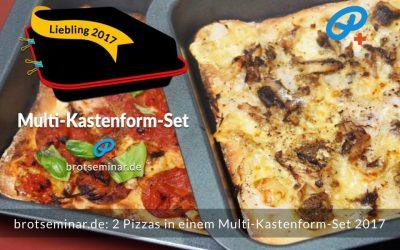 2 Pizzas mit Ohne-Kneten-Hefeteig im Multi-Kastenform-Set 2017 gleichzeitig gebacken