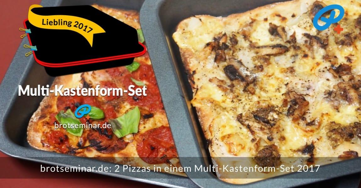 brotseminar.de: 2 (zwei) Pizzas wurden gleichzeitig im Multi-Kastenform-Set 2017 pizzaoptimal gebacken. Der Pizza-Teig von der Ostermühle Langenau wurde mit unserer Ohne-Kneten-Methode hergestellt. Das geht sehr einfach + schmeckt dann auch noch besser + bekömmlicher ist das Ergebnis sowieso.