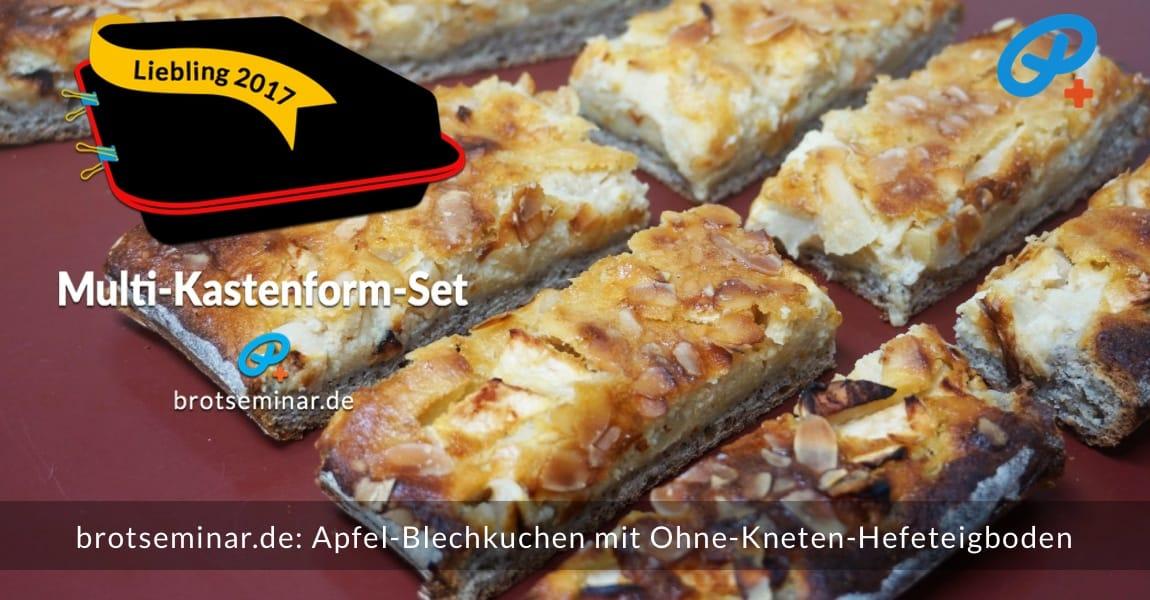 brotseminar.de: Dieser Apfel-Blechkuchen wurde im Multi-Kastenform-Set 2017 kuchenoptimal gebacken. Hier ist gut zu erkennen, dass das Verhältnis von Belag + Boden sehr gelungen ist.