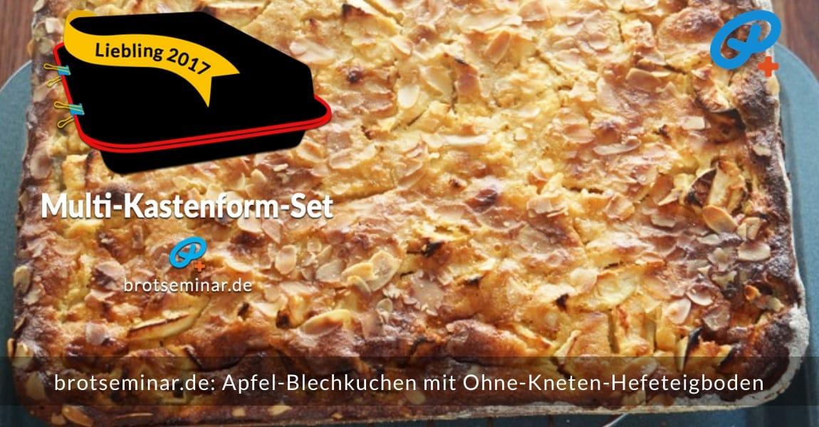 brotseminar.de: Dieser Apfel-Blechkuchen wurde im Multi-Kastenform-Set 2017 kuchenoptimal gebacken. Ist nur für kurze Zeit im HOF FRISÖR-Schaufenster beim Auskühlen zu bewundern gewesen.