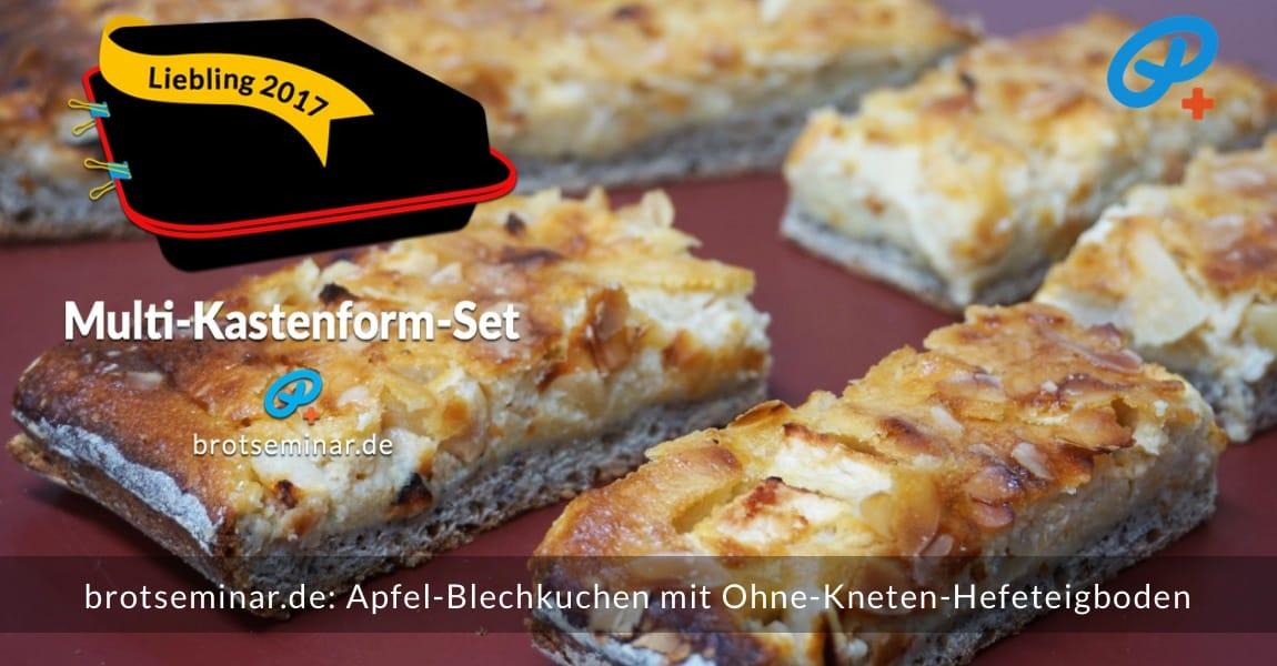 Dieser Apfel-Blechkuchen-Klassiker wurde im Multi-Kastenform-Set 2017 kuchenoptimal gebacken. Der Boden ist ein Ohne-Kneten-Hefeteig mit Vollkornweizenmehl + frisch gemahlenem Mohn. Optimiert mit der Langzeit-Gär-Methode # 03 für mehr Geschmack + Bekömmlichkeit.
