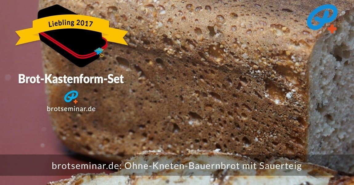 brotseminar.de: Dieses Bauernbrot mit Sauerteig wurde im Brot-Kastenform-Set 2017 brotoptimal gebacken. Von unten kannst du gut erkennen, dass die Brot-Kastenform mit Haferkleie ausgeschüttelt wurde. Haferkleie ist auch als Deko fürs Obendrauf verwendet worden.