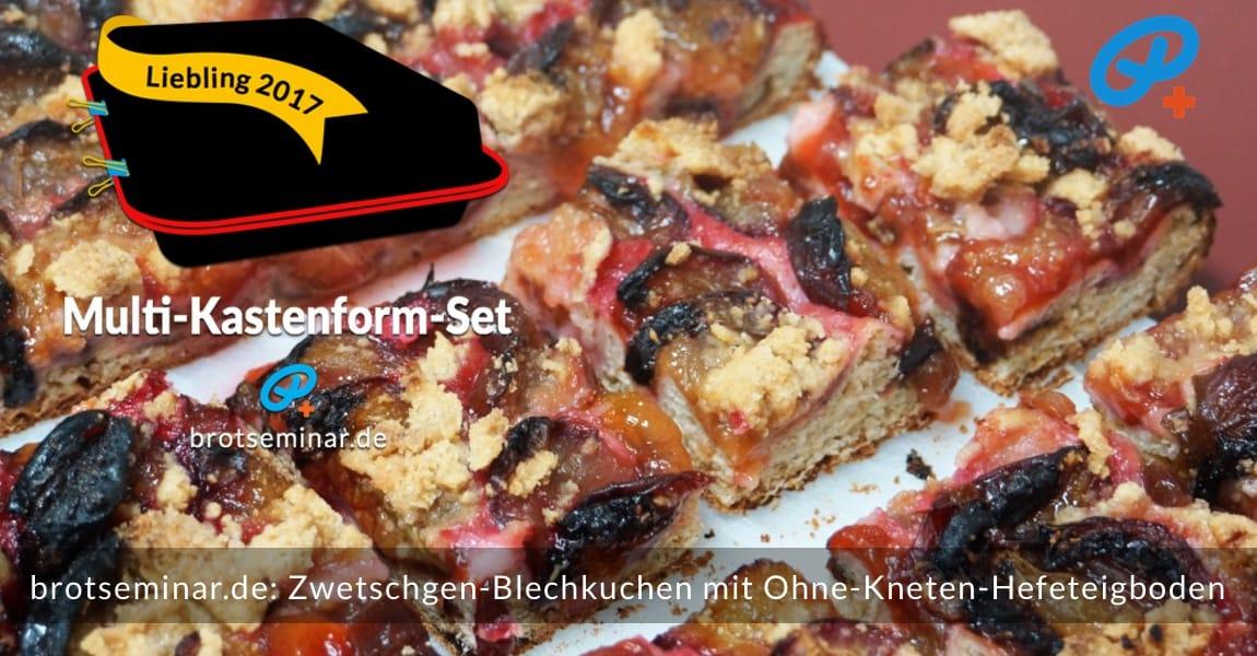 brotseminar.de: Dieser saisonale Zwetschgen-Blechkuchen mit Ohne-Kneten-Hefeteigboden wurde im vielseitigen Multi-Kastenform-Set 2017 kuchenoptimal gebacken. Aufgeschnitten: Hier gibt es einen tiefen Einblick in den fertig gebackenen Kuchen.