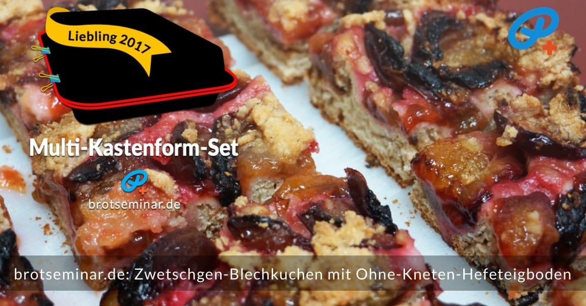 brotseminar.de: Dieser saisonale Zwetschgen-Blechkuchen mit Ohne-Kneten-Hefeteigboden wurde im vielseitigen Multi-Kastenform-Set 2017 kuchenoptimal gebacken. Begehrenswert: Ohne Worte, denn dieses Bild spricht für sich.