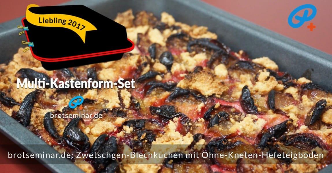 brotseminar.de: Dieser saisonale Zwetschgen-Blechkuchen mit Ohne-Kneten-Hefeteigboden wurde im vielseitigen Multi-Kastenform-Set 2017 kuchenoptimal gebacken. Durch den Ohne-Kneten-Hefeteigboden aus Dinkelmehl bekam der saftige Pflaumenbelag eine stabile + doch fluffige Grundlage mit viel Aroma + Bekömmlichkeit.