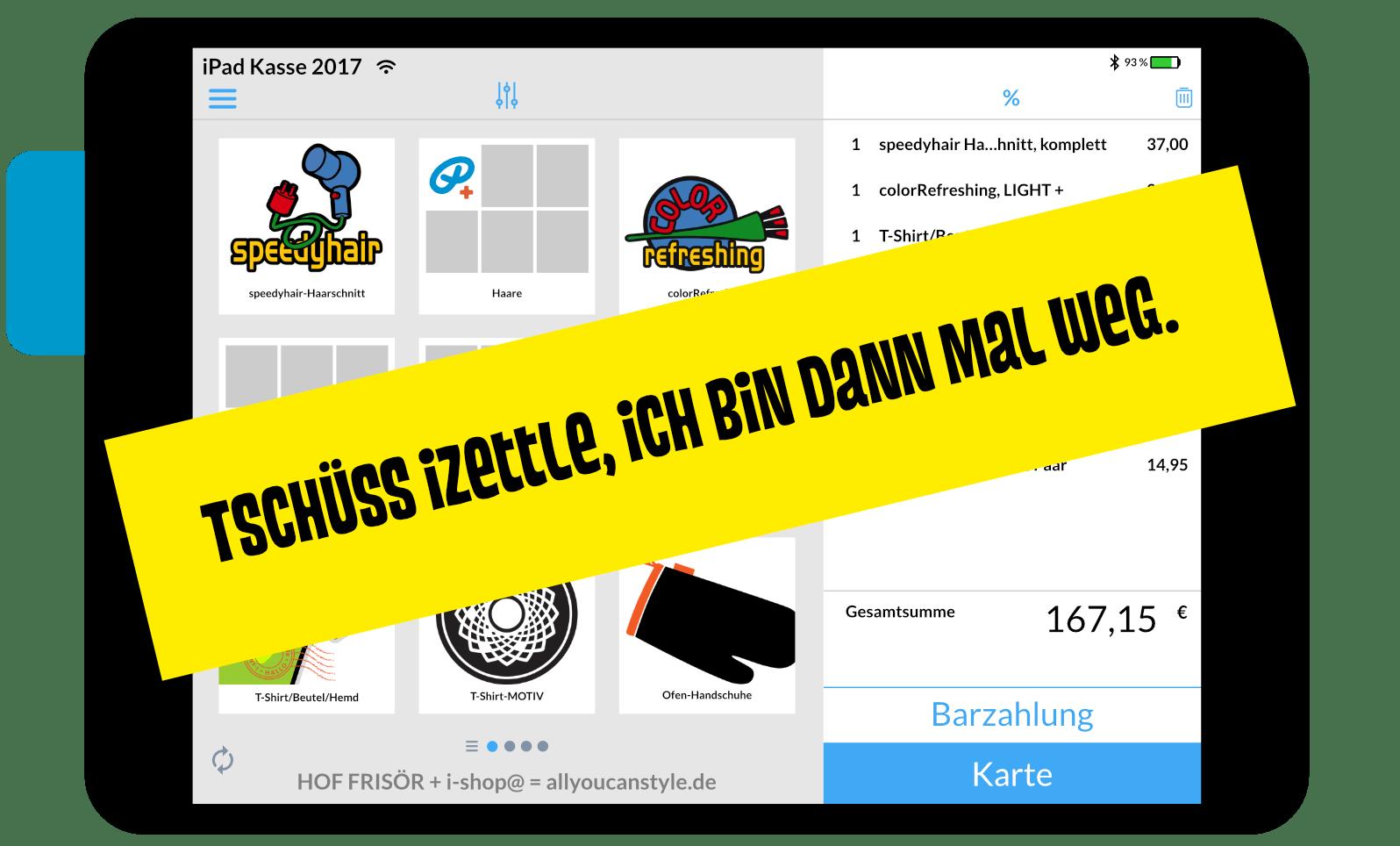 """März 2018 — HOF FRISÖR will diese Kasse nicht mehr haben: """"Tschüß iZettle, ich bin dann mal weg."""""""