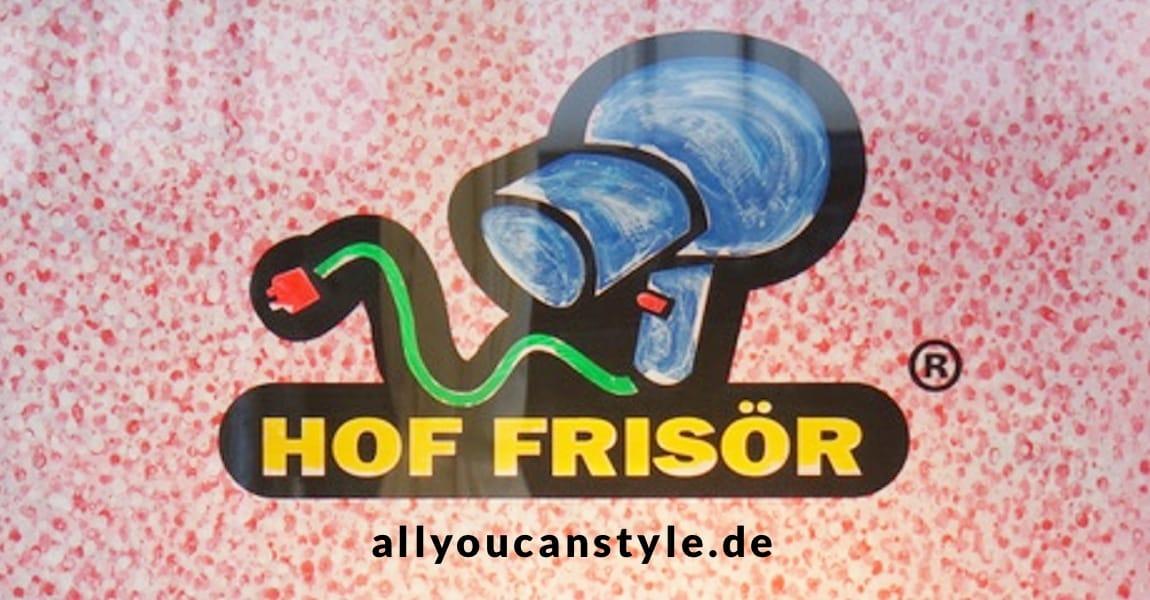 allyoucanstyle.de: Haare sind wichtig. Sei spontan, hereinspaziert … HOF FRISÖR-Logo auf gepunktetem Hintergrund.