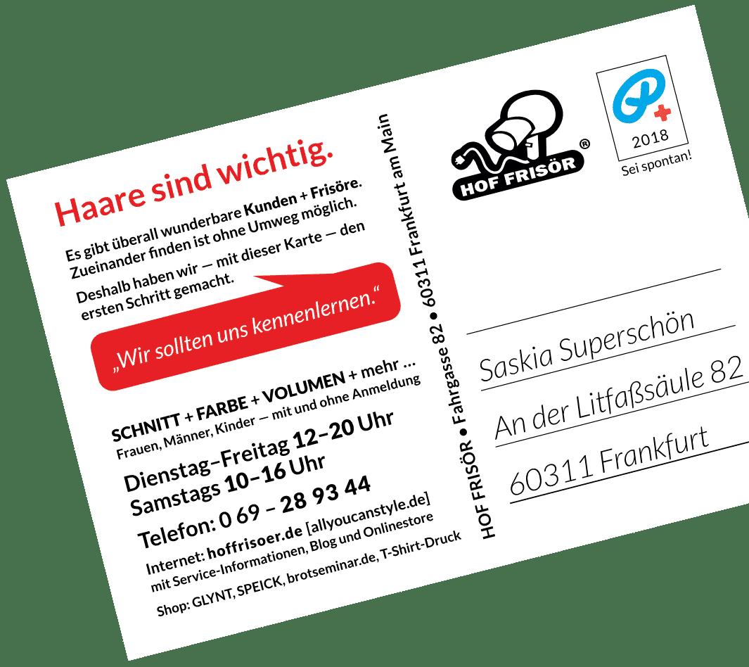 """© allyoucanstyle.de im September 2018: Hinterseite HOF FRISÖR-Postkarte """"Haare sind wichtig."""""""