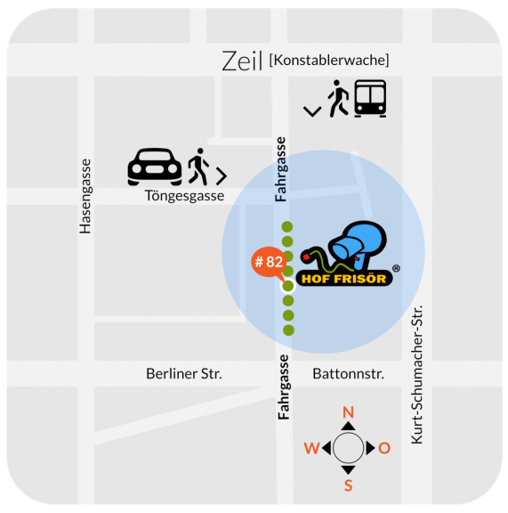 Wegweiser zum HOF FRISÖR in Frankfurt am Main: Innenstadt, Konstablerwache, unter acht grünen Bäumen, direkt an der Litfaßsäule, Fahrgasse 82