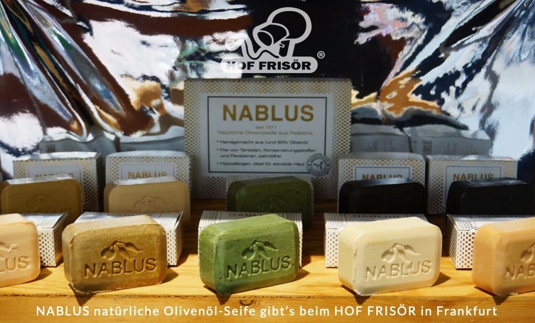 © 2019 allyoucanstyle.de (hoffrisoer.de): NABLUS natürliche Olivenöl-Seife gibt's beim HOF FRISÖR in Frankfurt zu kaufen.
