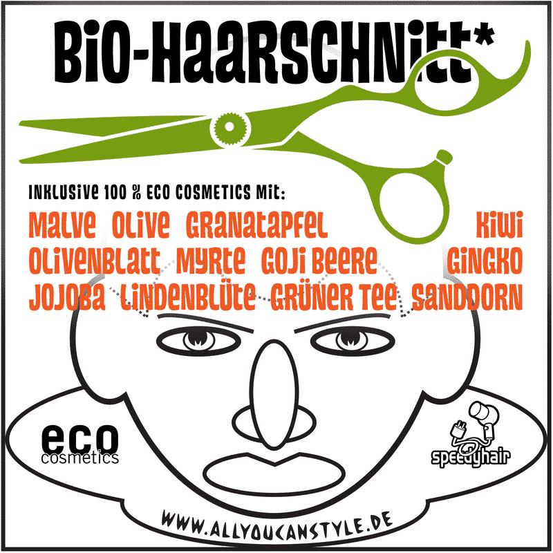 Bio-Haarschnitt = speedyhair-Haarschneide-Methode vom HOF FRISÖR mit 100 % ECO COSMETICS
