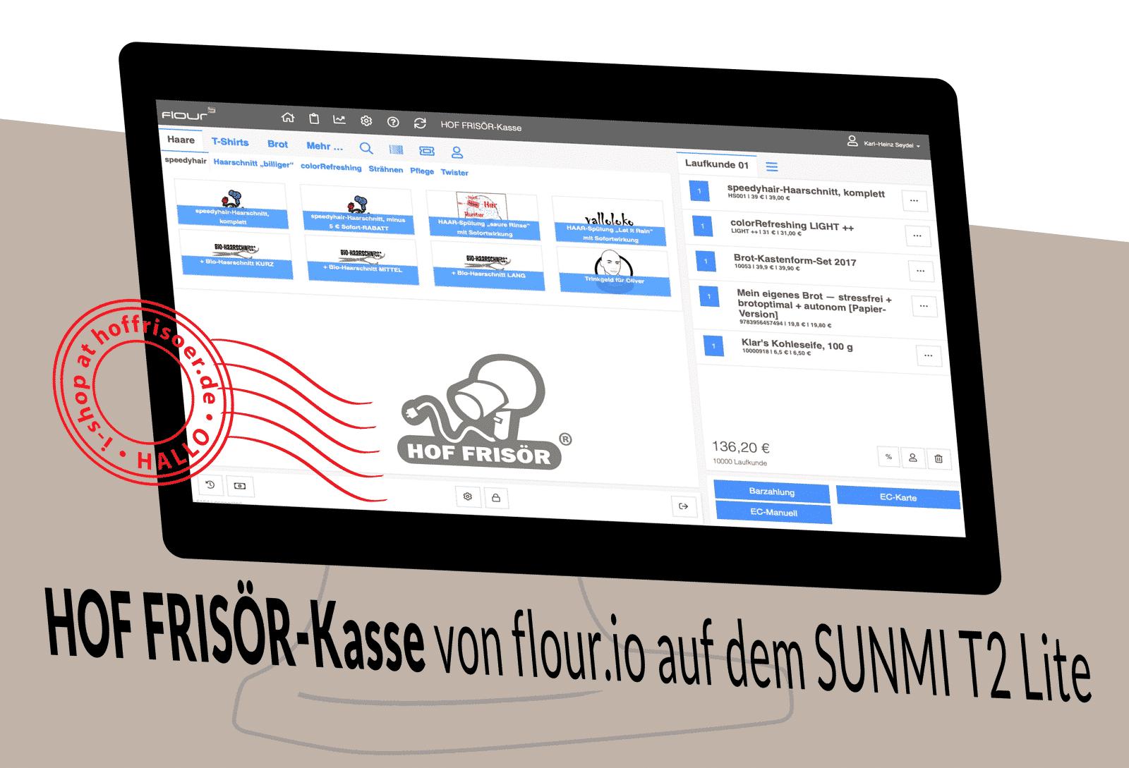 © November 2019 hoffrisoer.de: HOF FRISÖR-Kasse von flour.io auf dem SUNMI T2 Lite, isometriche flour-Kassen-Illustration von Karl-Heinz Seydel für allyoucanstyle.de
