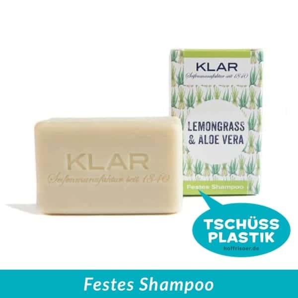 KLAR Seifenmanufaktur Heidelberg: Festes Shampoo Lemongrass-Aloe Vera ohne Plastik