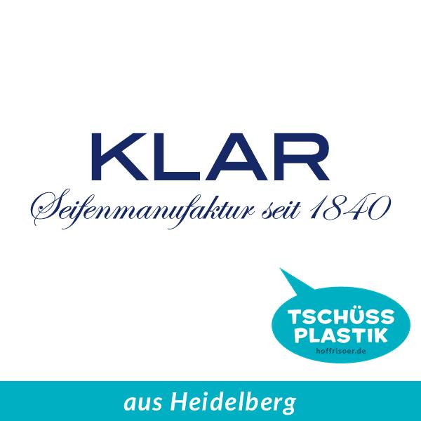 KLAR Seifenmanufaktur seit 1884 aus Heidelberg ist palmölfrei und plastikfrei beim HOF FRISÖR in Frankfurt am Main erhältlich