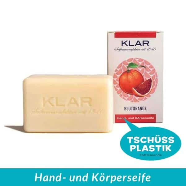 KLAR Seifenmanufaktur: Feste Hand- und Körperseife, Blutorangen-Seife mit Öl aus der Kaltpressung der Blutorangenschale, vegan und plastikfrei