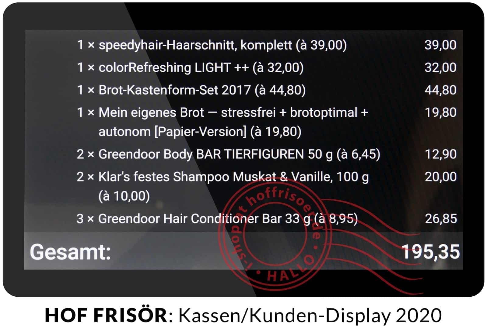 HOF FRISÖR FRANKFURT Februar 2020: Kassen-Kunden-Display von flour.io auf einem SUNMI T2 Lite im Vollbildmodus in 15,6 Zoll (40 cm) Bildschirm-Diagonale
