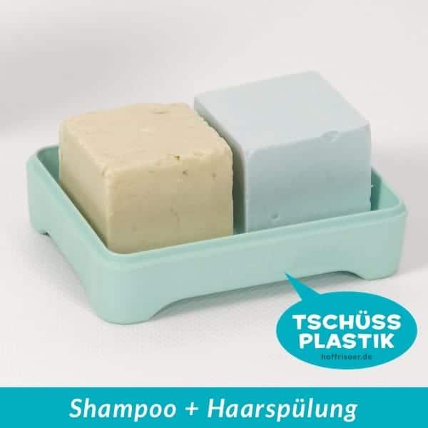 HOF FRISÖR Frankfurt am Main: Festes Shampoo-Stück und festes Haarspülung-Stück auf einer Seifenschale von HOPERY