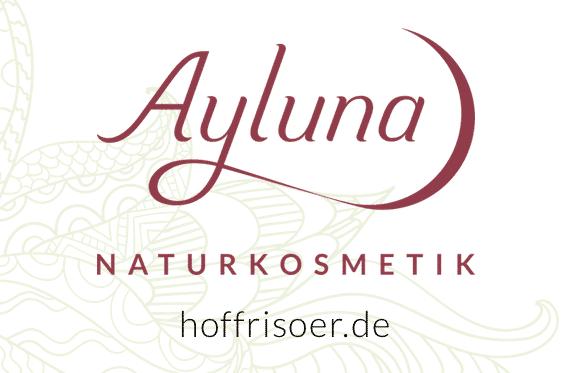 © 2020 HOF FRISÖR: Das AYLUNA-Logo wurde uns als Händler, Wiederverkäufer, autorisierter Fachhändler, Naturkosmetik-Liebhaber zur Verfügung gestellt (Logo und Hintergrundgrafik: Ayluna Naturkosmetik GmbH)