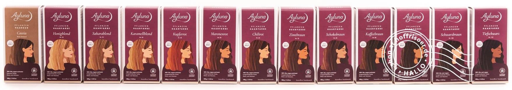 © 2020 HOF FRISÖR mit Ayluna Naturkosmetik: Bio-Pflanzen-Haarfarben für die Selbstbehandlung in 100 g-Packung (Foto: Ayluna Naturkosmetik GmbH)