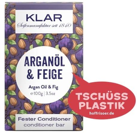"""Fester Conditioner """"Arganöl  & Feige"""" von KLAR gibt es beim HOF FRISÖR in Frankfurt am Main zu kaufen …"""