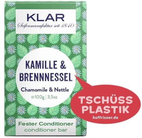 """Fester Conditioner """"Kamille & Brennnessel"""" von KLAR gibt es beim HOF FRISÖR in Frankfurt am Main zu kaufen …"""