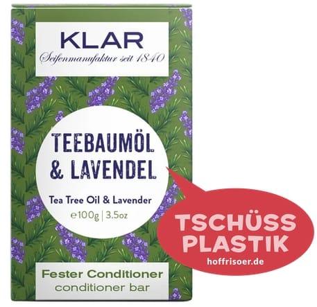 """Fester Conditioner """"Teebaumöl  & Lavendel"""" von KLAR gibt es beim HOF FRISÖR in Frankfurt am Main zu kaufen …"""