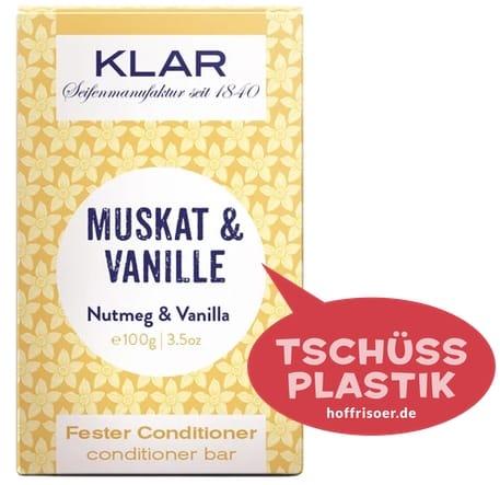 """Fester Conditioner """"Muskat  & Vanille"""" von KLAR gibt es beim HOF FRISÖR in Frankfurt am Main zu kaufen …"""