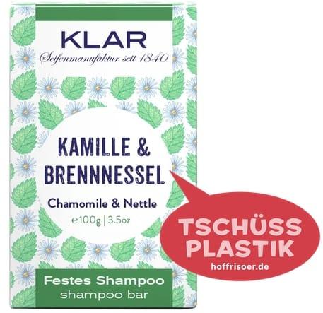 """Festes Shampoo """"Kamille & Brennnessel"""" von KLAR gibt es beim HOF FRISÖR in Frankfurt am Main zu kaufen …"""