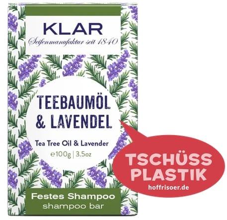 """Festes Shampoo """"Teebaumöl  & Lavendel"""" von KLAR gibt es beim HOF FRISÖR in Frankfurt am Main zu kaufen …"""