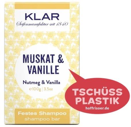"""Festes Shampoo """"Muskat  & Vanille"""" von KLAR gibt es beim HOF FRISÖR in Frankfurt am Main zu kaufen …"""