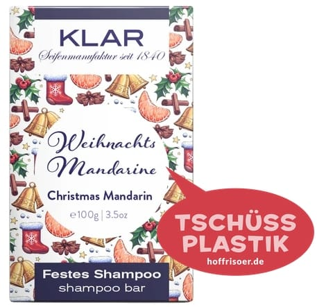 """Festes Shampoo """"Weihnachts-Mandarine"""" von KLAR gibt es beim HOF FRISÖR in Frankfurt am Main zu kaufen …"""