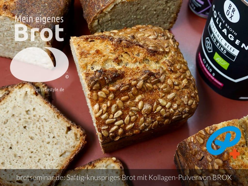 © 2021 by brotseminar.de: Ohne-Kneten-Brot mit Kollagen-Pulver und Gewürzen von BROX