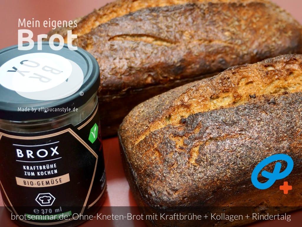 """© 2021 by brotseminar.de: Ohne-Kneten-Brot mit Bio-Kraftbrühe """"Gemüse"""" und """"Umami"""" + Bio-Kollagen-Pulver + Bio-Rindertalg von BROX"""
