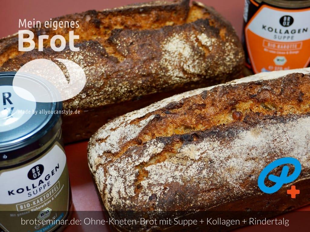 © 2021 by brotseminar.de: Brot-Ohne-Kneten mit Bio-Kraft-Suppe, Kollagen aus Knochen vom Bio-Rind + Rindertalg von BROX