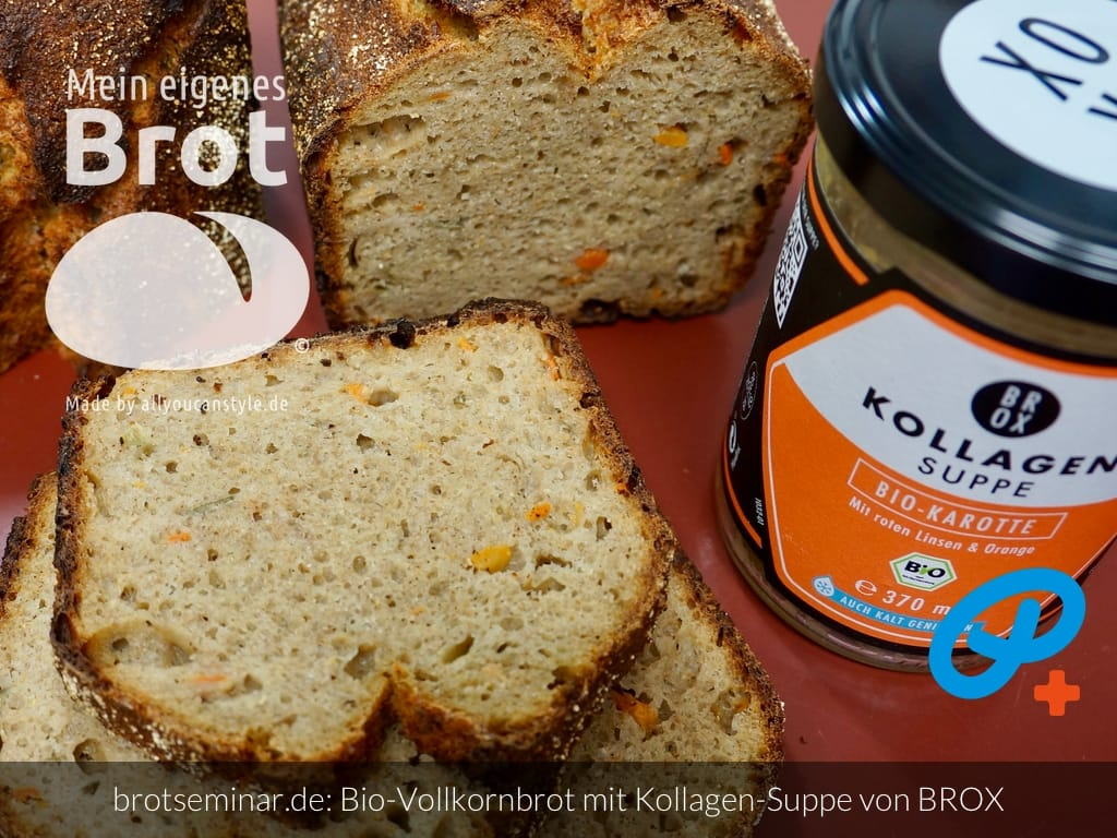© 2021 by brotseminar.de: Bio-Vollkorn-Brot mit Bio-Kraft-Suppe, Kollagen aus Knochen vom Bio-Rind + Rindertalg von BROX