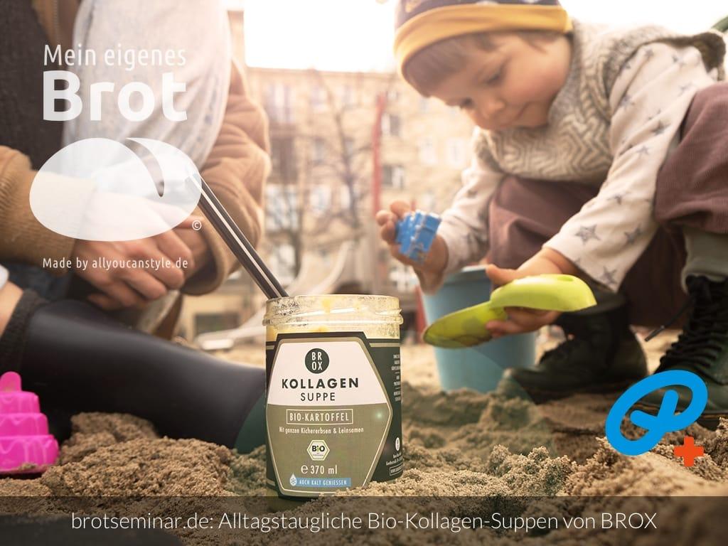 © 2021 by brotseminar.de: Bio-Kraft-Suppe von BROX und dazu eine Stulle vom selbst gemachten Ohne-Kneten-Brot (Foto: BROX)
