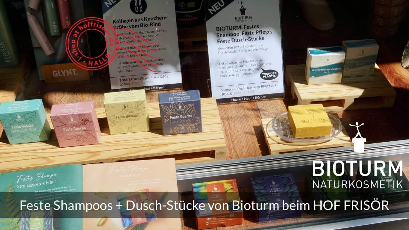 """HOF FRISÖR FFM: Feste Shampoos, Feste Spülung und die neuen Festen Dusch-Stücke von Bioturm Naturkosmetik im """"Tschüss Plastik!""""-Schaufenster"""