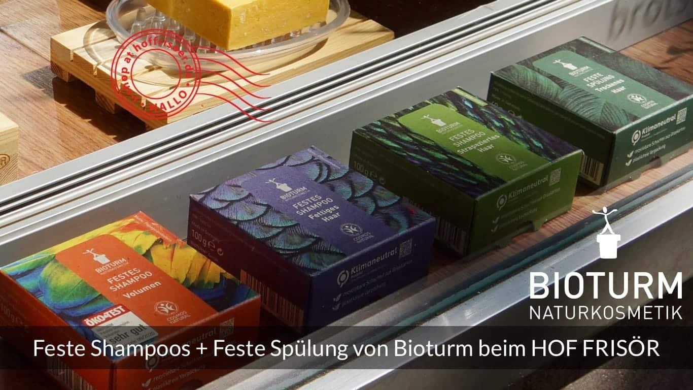 """HOF FRISÖR FFM: 3 Feste Shampoos und 1 Feste Spülung von Bioturm Naturkosmetik im """"Tschüss Plastik!""""-Schaufenster"""